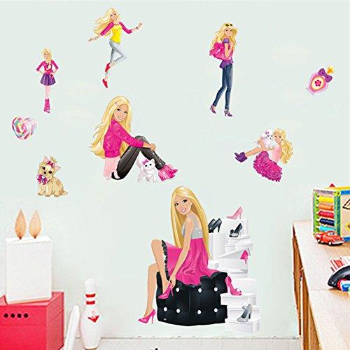 Fangeplus(TM) DIY Removable Barbie Doll Girl Room Art Mural Vinyl Waterproof Wall Stickers Kids Room Decor Nursery Decal Sticker Wallpaper (Barbie Mural)