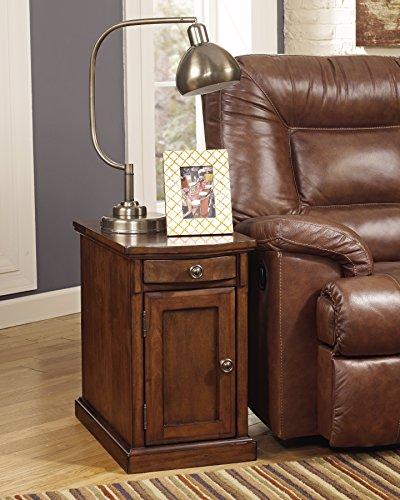 Ashley Furniture Signature Design - Laflorn Chairside End Table - Rectangular - Medium Brown