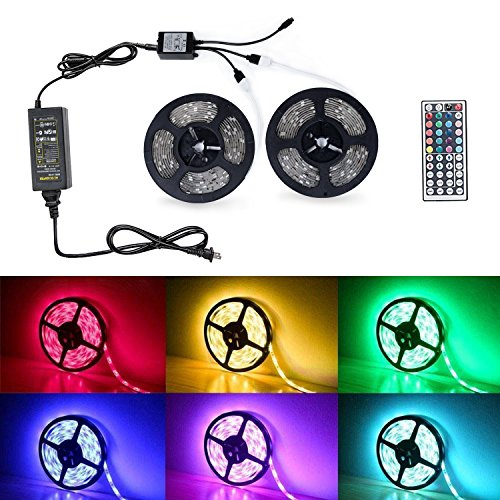 Badalink LED Strip Lights, Waterproof 2X5M Band Light Decoration Lamp with Color 300 leds RGB with 44 Keys Wireless Remote Controller and Plug-in Power Supply for Party,Car,Camper,Outdoor&Indoor