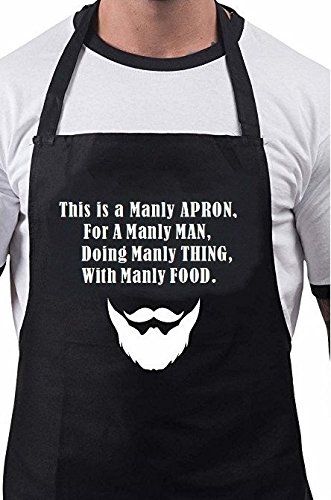 (Firecos Funny Aprons for Men Cooking Aprons for Chief Good Gift Kitchen with This is a Manly Apron Print)