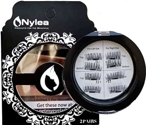 Nylea 8x Magnetic Eyelashes [No Glue] Premium Magnet Quality False Eyelashes Set for Natural Look - Best Fake Lashes Extensions One Two Cosmetics 3D Reusable
