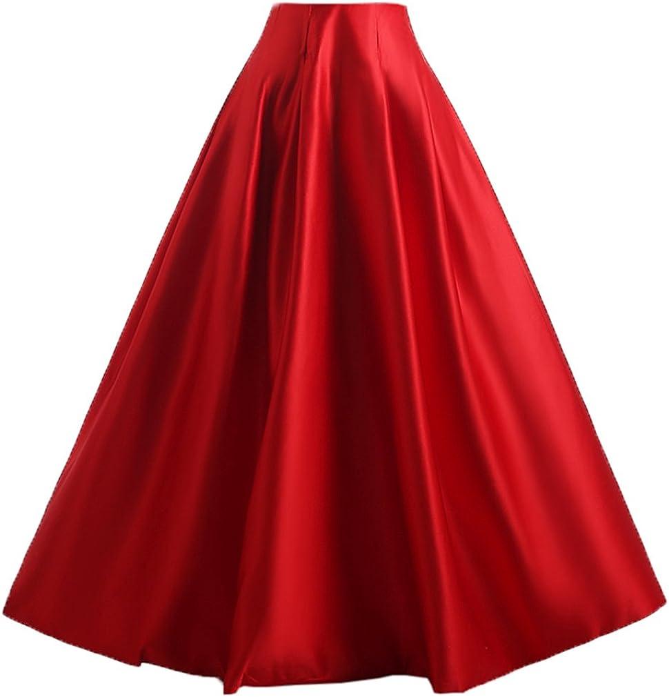 Wedding Lady - Falda larga para Mujer, satén, cintura alta rojo ...