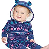 0-24 Months Infant Baby Boys Girls Thicker Zipper Hooded Print Romper Jumpsuit Autumn Winter Outfit Clothes (Blue, 18-24 Months)