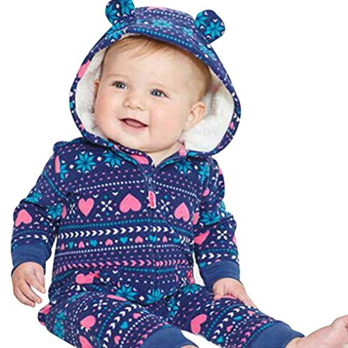 0-24 Months Infant Baby Boys Girls Thicker Zipper Hooded Print Romper Jumpsuit Autumn Winter Outfit Clothes (Blue, 18-24 Months) by Aritone - Baby Clothes