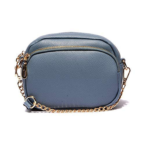 VITACCI Womens Handbag Leather Crossbody Purse Small Crossbody Bags for Women with Chain Strap Blue