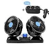 MENQANG 12V Electric Car Cooling Fan 360° Rotatable Dual Heads Air Circulator Fan Manual Rotation 2 Speed. (Balck-3 Cigarette Lighter Sockets)