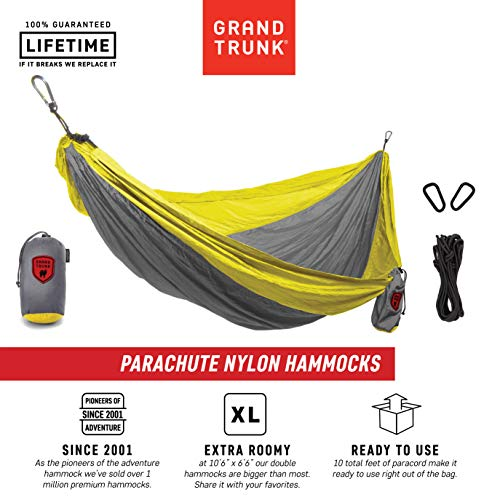 Grand Trunk Double Parachute Printed Nylon Hammock: Portable with Carabiners and Hanging Kit - Perfect for Outdoor Adventures, Backpacking, and Festivals, Silver/Yellow