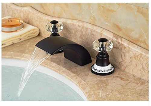 Gowe Special 3PCS Oil Rubbed Bronze Crystal Handle Deck Mounted Bathroom Basin Sink Faucet Mixer tap 2