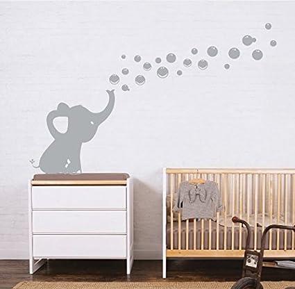 MAFENT Un Adorable Elefante Soplar Burbujas Wall Decal Vinilo Etiqueta de la Pared Para Cuarto de Niños Bebe Habitación Decoraciones (Gris,Derecho)