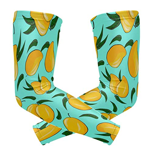 - NQEONR Sports Athletic Arm Sleeve Mango Fruit Tropical Summer Sweet Print Compression Sleeves Arm Warmer Moisture Wicking Uv Protection for Youth Adult Outdoor Sunblock Protective Gloves Sleeves