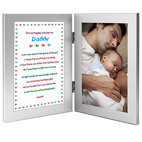 Daddy Gift From Newborn - New Dad Sweet Poem in Double Frame - Father's Day or Birthday - Add Photo