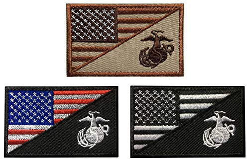 SpaceAuto Bundle 3 Pieces USA American Flag w/ Marine Corps USMC Military Tactical Morale Badge Patch 3