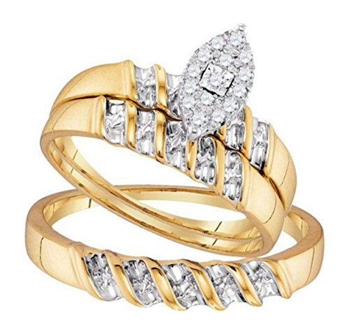 0.14 cttw 10k Yellow Gold Marquise Shape Diamond Trio Wedding Ring Set Him and Her