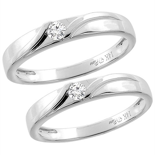 14K White Gold 2-pc Diamond Wedding Ring Set 3.5 mm His & 3 mm Hers, L 5-10 & M 8-14, size 10 by Silver City Jewelry