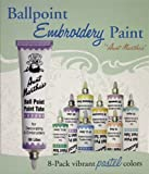 Aunt Martha's Ballpoint 8-Pack Embroidery Paint, Pastel Colors