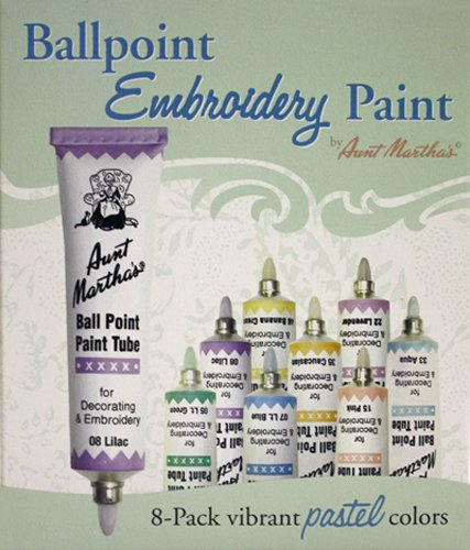 Aunt Martha's 888 Ballpoint 8-Pack Embroidery Paint, Pastel Colors