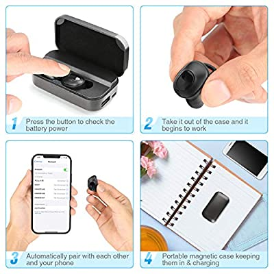AiJoy True Wireless Earbuds Bluetooth 5.0 Earphones Waterproof 80H Playtime 3D Stereo Sound Wireless Headphones with with 2600mAH Charging Case Built-in Microphone for iPhone and Android