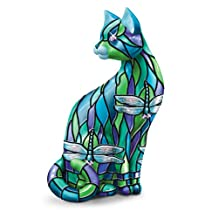 """The """"Dragonfly"""" Stained-Glass Cat Figurine by The Bradford Exchange"""