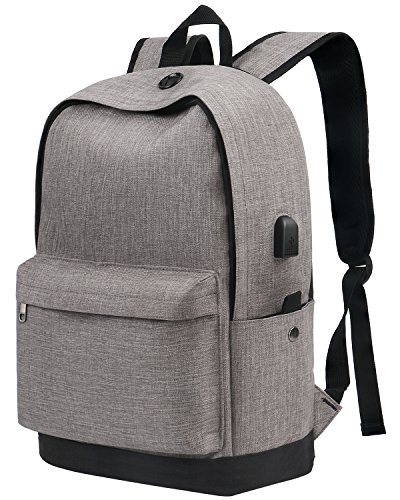 Backpack, Water Resistant School Backpack with USB Charging Port for Women Men, Canvas College Student Rucksack Fits 15.6 Inch Laptop and Notebook, Grey Bookbag Daypack for Travel Outdoor Camping