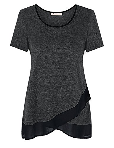 Pleated Cotton & Silk Tunic (Nomorer Tunic Tops For Leggings For Women, Womens Flared Hemline Summer Short Sleeve T Shirts Black L)