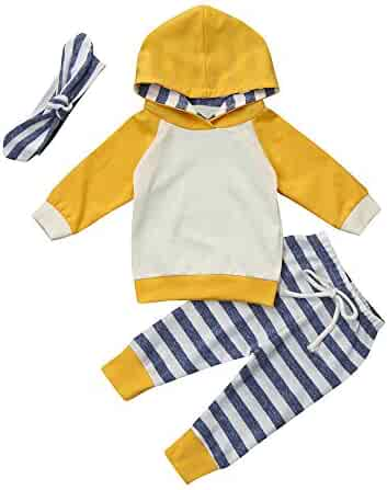 5610c3a90824 Sameno Infant Baby Boys Girls Clothes Stripe Long Sleeve Hoodie Tops  Sweatsuit Long Pants 3 Pcs