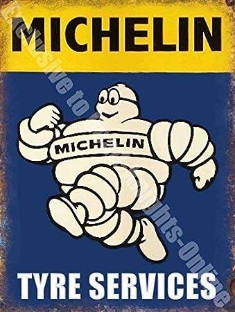 Hombre Michelin Neumá tico Servicios Coche Vintage Garaje Metal / CARTEL para pared de acero - 9 x 6.5 cm (Magnet) RKO