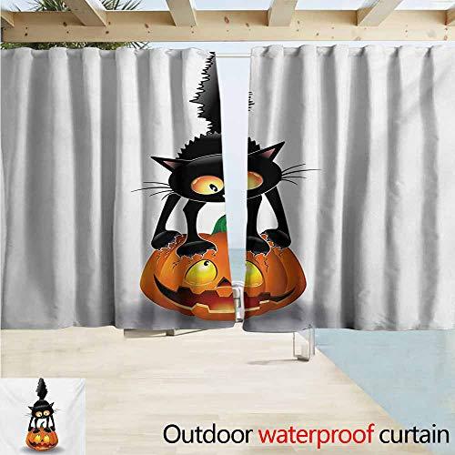Zmacdk Halloween Outdoor Curtain Panel for Patio Black Cat on Pumpkin Drawing Spooky Cartoon Characters Halloween Humor Art Waterproof Patio Door Panel W72 xL72 Orange Black]()