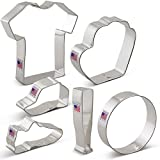 Baseball Cookie Cutter Set - 6 piece - Bat, Ball, Glove, Jersey, Cap, Shoe - Ann Clark - Tin Plated Steel