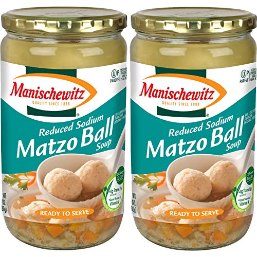Manischewitz Matzah Ball Soup, Kosher For Passover, 24 Ounce Jar (Matzo Balls In Broth Reduced Sodium, 2-Pack)
