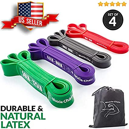 0a6d34c081 Resistance Loop Exercise Bands Set of 4 - Light Medium Heavy Loop Bands Kit  for Home