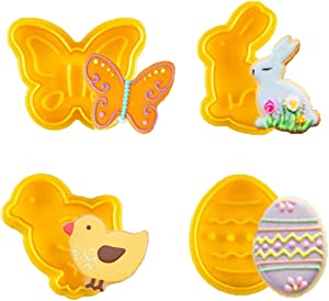 KAISHANE 4 PCS Easter Cookie Cutter Set - Egg,Rabbit,Butterfly,Chick Shapes Plunger Biscuit Cutters for Cake Fondant