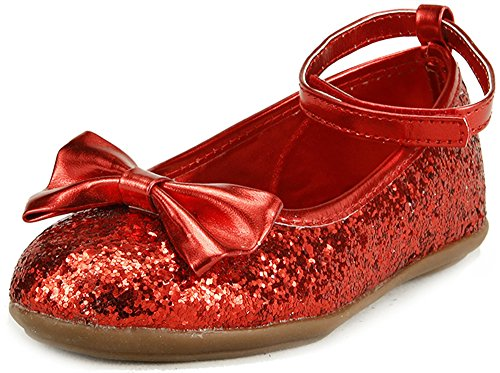 Red Glitter Toddler Shoes (The Doll Maker Metallic Glitter Strap Flat Shoes-TD1511115E-9)