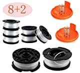 30ft 0.065' Line String Trimmer Replacement Spool - Autofeed Trimmer Line Spool,10-Pack Compatible with Black+Decker AF-100-3ZP Weed Eater String Trimmers ( 8 Replacement Line Spool,2 Trimmer Cap)