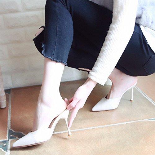Parte y white Moda YMFIE Verano Zapatillas Simple Sandalias Bailando Nuevo Talones 2018 Damas' Rice Cool los ZqZ0xvRw