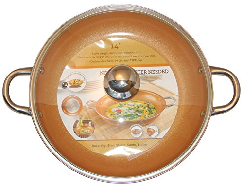 Copper Frying Pan 14 Inch With Tempered Glass Lid Non