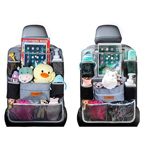 SURDOCA Car Organizer, SURDOCA 4th Generation Enhanced Car Seat Organizer with 10.5'' PVC-Free Tablet Holder, 9 Pockets , Road Trip Essentials for Kids,Car Seat Back Storage Organizer, Gray, 2pcs