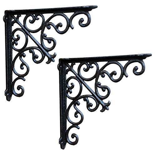 (ZDY Vintage Wall Mounted Shelve Brackets, Iron Craft Triangle Shelf Bracket, Heavy Duty Solid Bench Table Baffle Rack, Stand 2pcs 90 Degree,with Screws.)