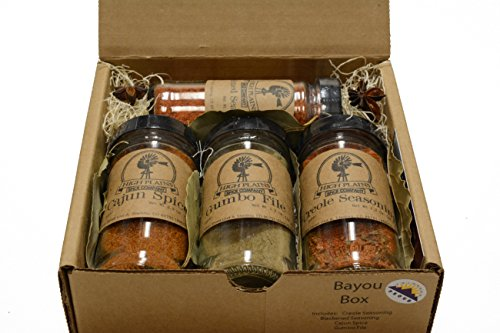 Bayou Box Gift Set of 4 ~ Gift Set by High Plains Spice Company ~ Gourmet Meat and Veggie Spice Blends & Rubs For Beef, Chicken, Veggies & All Recipes - Best Bbq Sauce Tasting