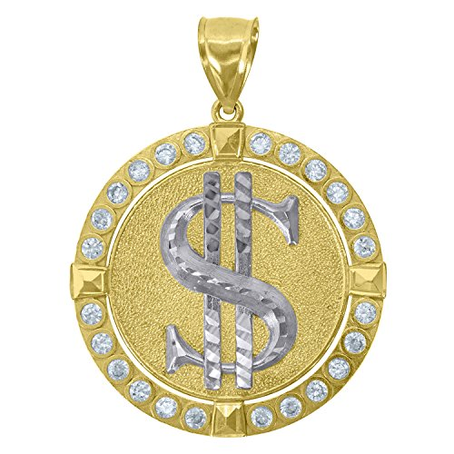 10kt Two-tone Gold Mens Cubic Zirconia CZ Textured Dollar Sign Medallion Charm Pendant (Male Sign Medallion)
