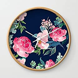 Society6 Navy And Pink Watercolor Peony Wall Clock Natural Frame, White Hands