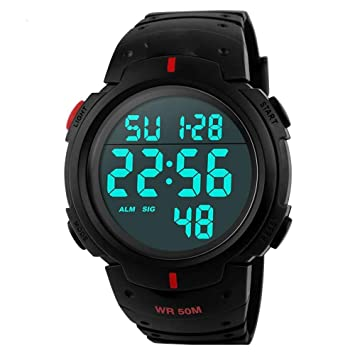 WULIFANG Moda para Hombres Relojes Deportivos Led Reloj Digital Electrónico 50M Exterior Impermeable Reloj Military Watch Rojo: Amazon.es: Deportes y aire ...