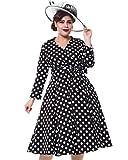ZAFUL Women 1950s Vintage Dress 3/4 Sleeve V Neck Swing Party Dress with Bow Ribbon Belt(Polka Dot S)