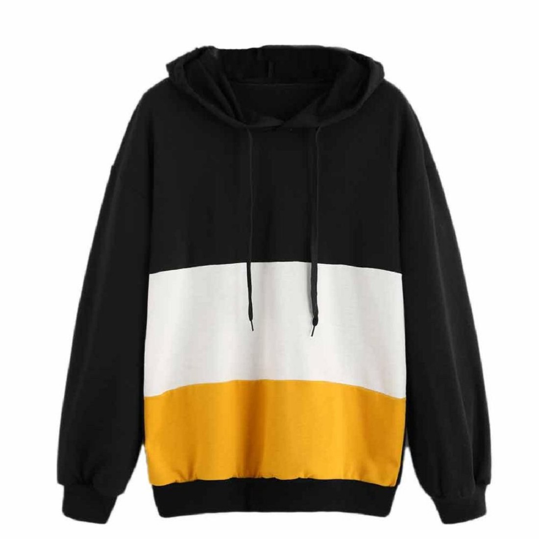 GONKOMA Autumn New Women Stripe Patchwork Hoodie Sweatshirt Pullover Casual Jumper Sweater Tops XWJ520