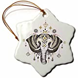 3dRose Decorated Boho Pretty Elephant and Jewels Illustration Snowflake Ornament, 3'