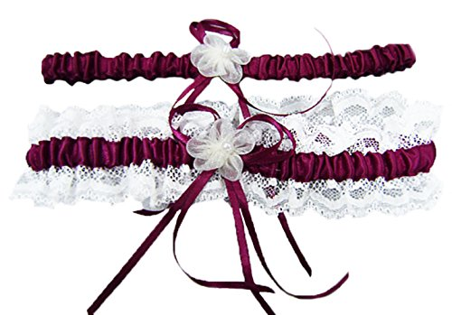 Vivivalue Women Satin Wedding Bridal Bride Pearl Flower Garter Set of 2 for Prom Wine Red