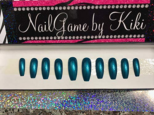 Just Teal Hand Designed Nail Set by NailGame by Kiki