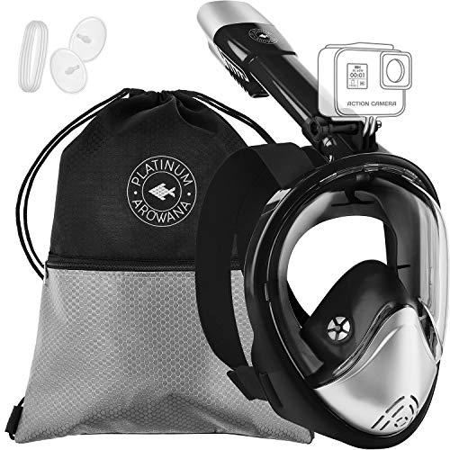 - Full Face Snorkel Mask Panoramic View Shallow Dive Mask Curved Face Design Leak Proof 180 Degree Viewing Anti-Fog Anti-Leak Tubeless Scuba Mask Gear Dry Top Water Blocking System Technology Easy Breat