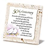 50th Anniversary Two Doves 4 x 4 Resin Stone Easel Back Tile Plaque
