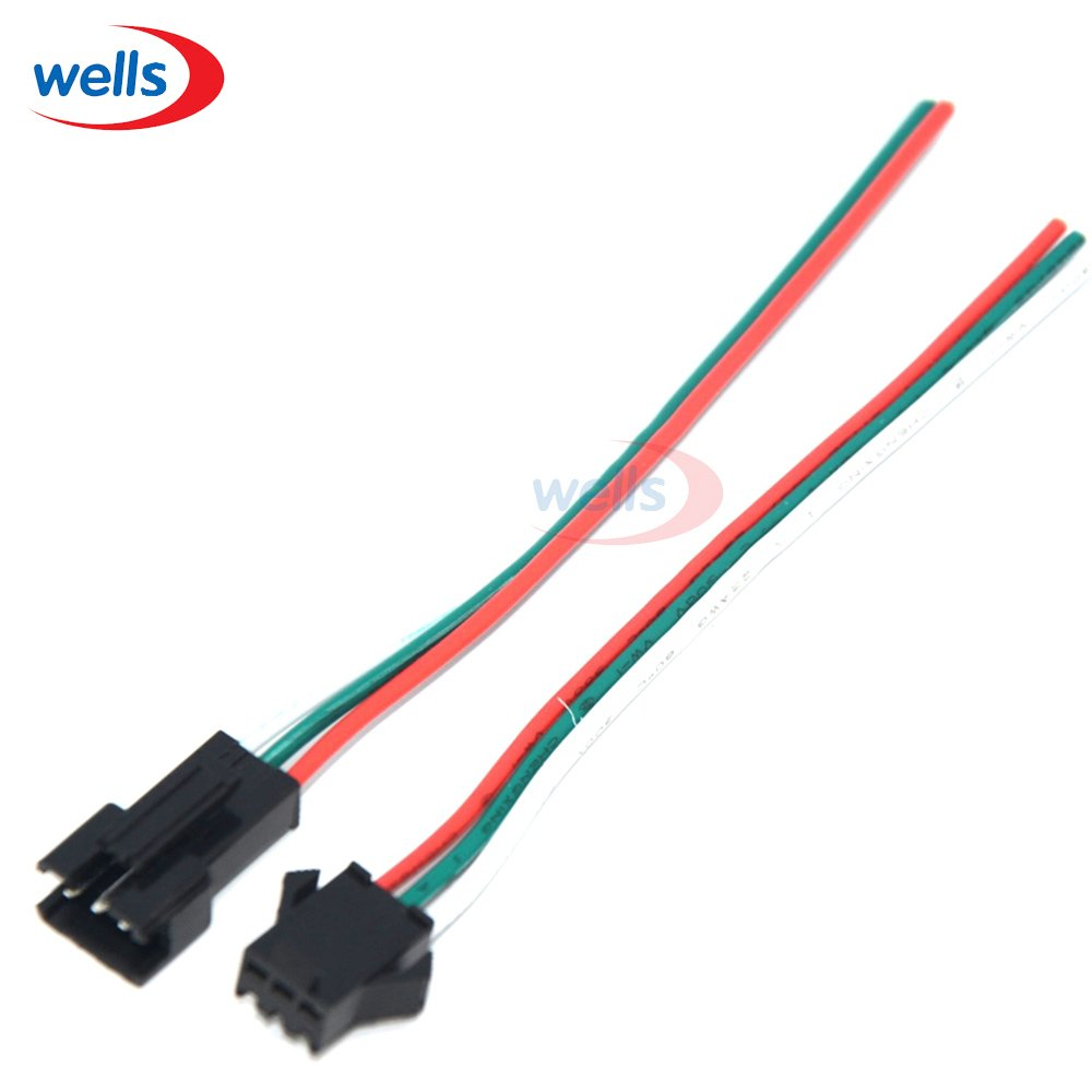 Gimax 100 Pair 3 Pin JST Connectors For LED Strip Female Male 3PIN plug and socket,with 15cm long wire each 22AWG wire;red/green/white