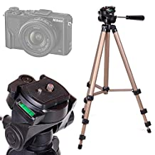DURAGADGET Camera Tripod with Extendable Legs and Ball-Tilt Head in Black & Gold for the NEW Nikon Coolpix A300, A900, B500, B700 & DL18-50, DL 24-500, DL 24-85 Cameras